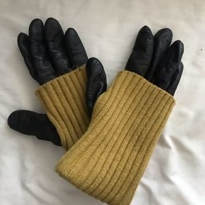 Accessories - Leather gloves with yellow knit trim